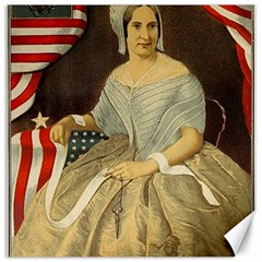 Betsy Ross Author of The First American Flag and Seal Patriotic USA Vintage Portrait Canvas 20  x 20