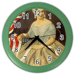 Betsy Ross Author of The First American Flag and Seal Patriotic USA Vintage Portrait Color Wall Clocks