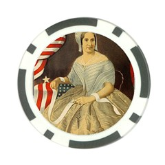 Betsy Ross Author of The First American Flag and Seal Patriotic USA Vintage Portrait Poker Chip Card Guard