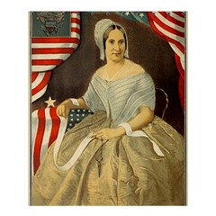 Betsy Ross Author of The First American Flag and Seal Patriotic USA Vintage Portrait Shower Curtain 60  x 72  (Medium)