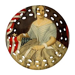Betsy Ross Author of The First American Flag and Seal Patriotic USA Vintage Portrait Ornament (Round Filigree)