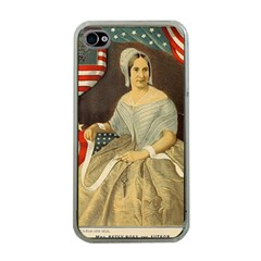Betsy Ross Author of The First American Flag and Seal Patriotic USA Vintage Portrait Apple iPhone 4 Case (Clear)