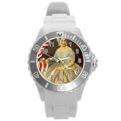 Betsy Ross Author of The First American Flag and Seal Patriotic USA Vintage Portrait Round Plastic Sport Watch (L)