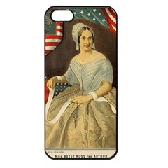 Betsy Ross Author of The First American Flag and Seal Patriotic USA Vintage Portrait Apple iPhone 5 Seamless Case (Black)