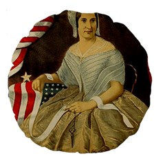 Betsy Ross Author of The First American Flag and Seal Patriotic USA Vintage Portrait Large 18  Premium Round Cushions