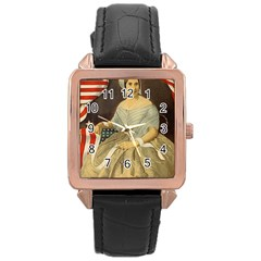 Betsy Ross Author of The First American Flag and Seal Patriotic USA Vintage Portrait Rose Gold Leather Watch