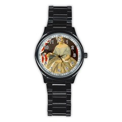 Betsy Ross Author of The First American Flag and Seal Patriotic USA Vintage Portrait Stainless Steel Round Watch