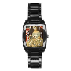 Betsy Ross Author of The First American Flag and Seal Patriotic USA Vintage Portrait Stainless Steel Barrel Watch