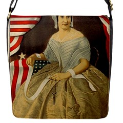 Betsy Ross Author of The First American Flag and Seal Patriotic USA Vintage Portrait Flap Messenger Bag (S)