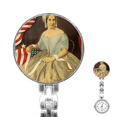 Betsy Ross Author of The First American Flag and Seal Patriotic USA Vintage Portrait Stainless Steel Nurses Watch