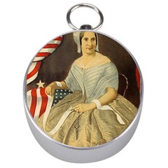 Betsy Ross Author of The First American Flag and Seal Patriotic USA Vintage Portrait Silver Compasses