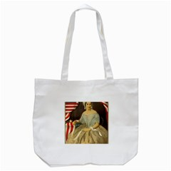 Betsy Ross Author of The First American Flag and Seal Patriotic USA Vintage Portrait Tote Bag (White)