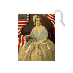 Betsy Ross Author of The First American Flag and Seal Patriotic USA Vintage Portrait Drawstring Pouches (Medium)