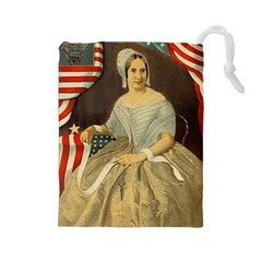 Betsy Ross Author of The First American Flag and Seal Patriotic USA Vintage Portrait Drawstring Pouches (Large)