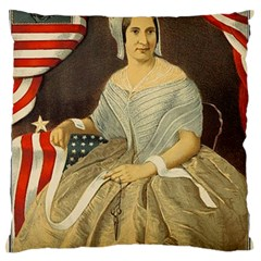 Betsy Ross Author of The First American Flag and Seal Patriotic USA Vintage Portrait Large Flano Cushion Case (Two Sides)