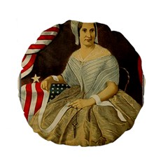 Betsy Ross Author of The First American Flag and Seal Patriotic USA Vintage Portrait Standard 15  Premium Flano Round Cushions