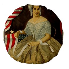 Betsy Ross Author of The First American Flag and Seal Patriotic USA Vintage Portrait Large 18  Premium Flano Round Cushions