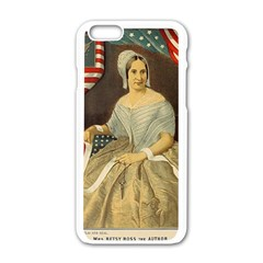 Betsy Ross Author of The First American Flag and Seal Patriotic USA Vintage Portrait Apple iPhone 6/6S White Enamel Case