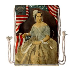 Betsy Ross Author of The First American Flag and Seal Patriotic USA Vintage Portrait Drawstring Bag (Large)