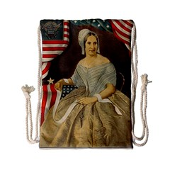 Betsy Ross Author of The First American Flag and Seal Patriotic USA Vintage Portrait Drawstring Bag (Small)