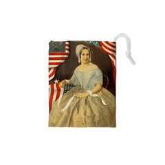Betsy Ross Author of The First American Flag and Seal Patriotic USA Vintage Portrait Drawstring Pouches (XS)