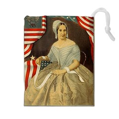Betsy Ross Author of The First American Flag and Seal Patriotic USA Vintage Portrait Drawstring Pouches (Extra Large)