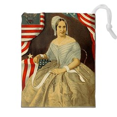 Betsy Ross Author of The First American Flag and Seal Patriotic USA Vintage Portrait Drawstring Pouches (XXL)