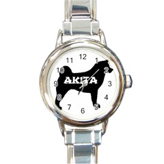 Akita Name Silo Round Italian Charm Watch