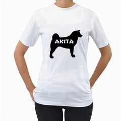 Akita Name Silo Women s T-Shirt (White) (Two Sided)