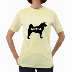 Akita Name Silo Women s Yellow T-Shirt