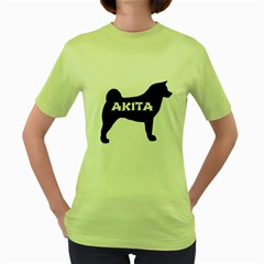 Akita Name Silo Women s Green T-Shirt