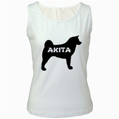 Akita Name Silo Women s White Tank Top