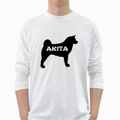 Akita Name Silo White Long Sleeve T-Shirts