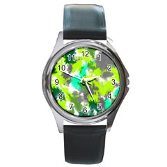 Abstract Watercolor Background Wallpaper Of Watercolor Splashes Green Hues Round Metal Watch