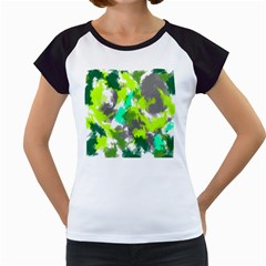Abstract Watercolor Background Wallpaper Of Watercolor Splashes Green Hues Women s Cap Sleeve T
