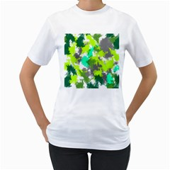 Abstract Watercolor Background Wallpaper Of Watercolor Splashes Green Hues Women s T-Shirt (White) (Two Sided)