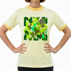 Abstract Watercolor Background Wallpaper Of Watercolor Splashes Green Hues Women s Fitted Ringer T-Shirts