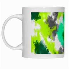 Abstract Watercolor Background Wallpaper Of Watercolor Splashes Green Hues White Mugs