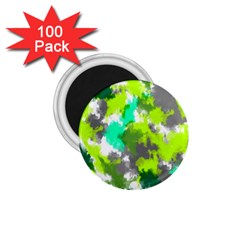 Abstract Watercolor Background Wallpaper Of Watercolor Splashes Green Hues 1.75  Magnets (100 pack)