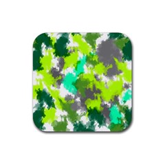 Abstract Watercolor Background Wallpaper Of Watercolor Splashes Green Hues Rubber Coaster (Square)