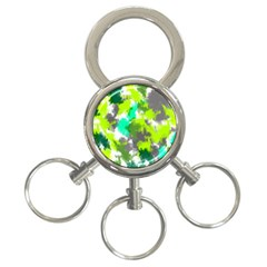 Abstract Watercolor Background Wallpaper Of Watercolor Splashes Green Hues 3-Ring Key Chains