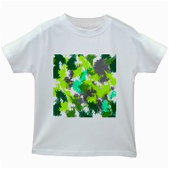 Abstract Watercolor Background Wallpaper Of Watercolor Splashes Green Hues Kids White T-Shirts