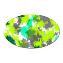 Abstract Watercolor Background Wallpaper Of Watercolor Splashes Green Hues Oval Magnet
