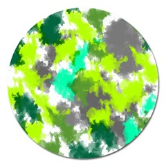 Abstract Watercolor Background Wallpaper Of Watercolor Splashes Green Hues Magnet 5  (round)
