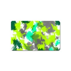 Abstract Watercolor Background Wallpaper Of Watercolor Splashes Green Hues Magnet (name Card)
