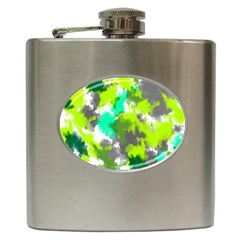 Abstract Watercolor Background Wallpaper Of Watercolor Splashes Green Hues Hip Flask (6 oz)
