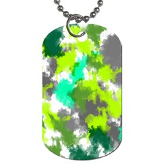 Abstract Watercolor Background Wallpaper Of Watercolor Splashes Green Hues Dog Tag (Two Sides)