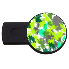 Abstract Watercolor Background Wallpaper Of Watercolor Splashes Green Hues Usb Flash Drive Round (2 Gb)