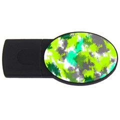 Abstract Watercolor Background Wallpaper Of Watercolor Splashes Green Hues USB Flash Drive Oval (1 GB)
