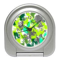 Abstract Watercolor Background Wallpaper Of Watercolor Splashes Green Hues Travel Alarm Clocks